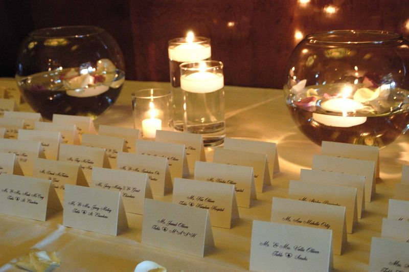 Close up seating cards