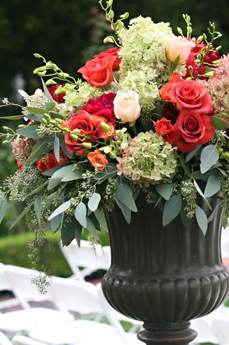 Fall Florals in Brown Urn